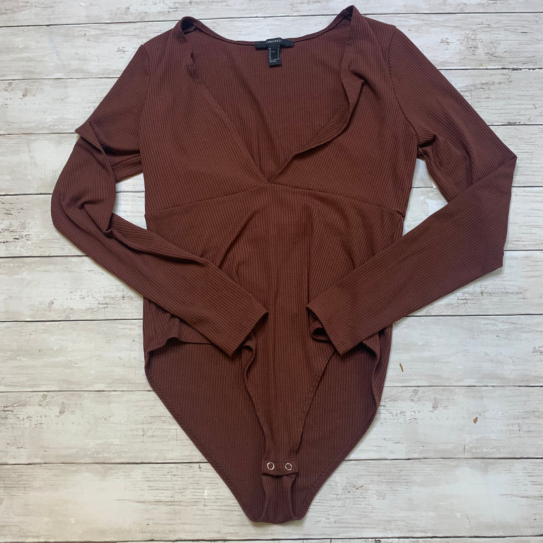 Primary Photo - BRAND: FOREVER 21 <BR>STYLE: TOP LONG SLEEVE <BR>COLOR: BROWN <BR>SIZE: L <BR>SKU: 176-176121-24986