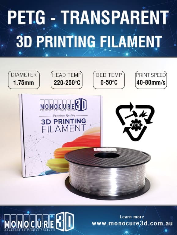 Transparent PETG 3d printer filament (1kg) PETGT | Lots Moore NSW