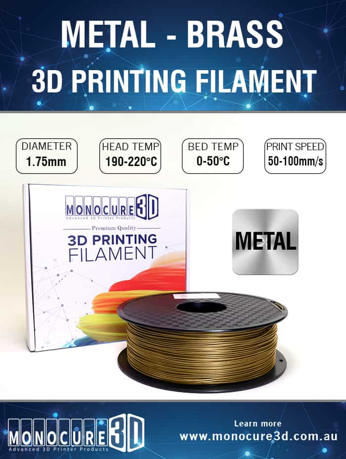 PLA Brass metal like 3d printer Filament (1kg) PLAMB | Lots Moore NSW