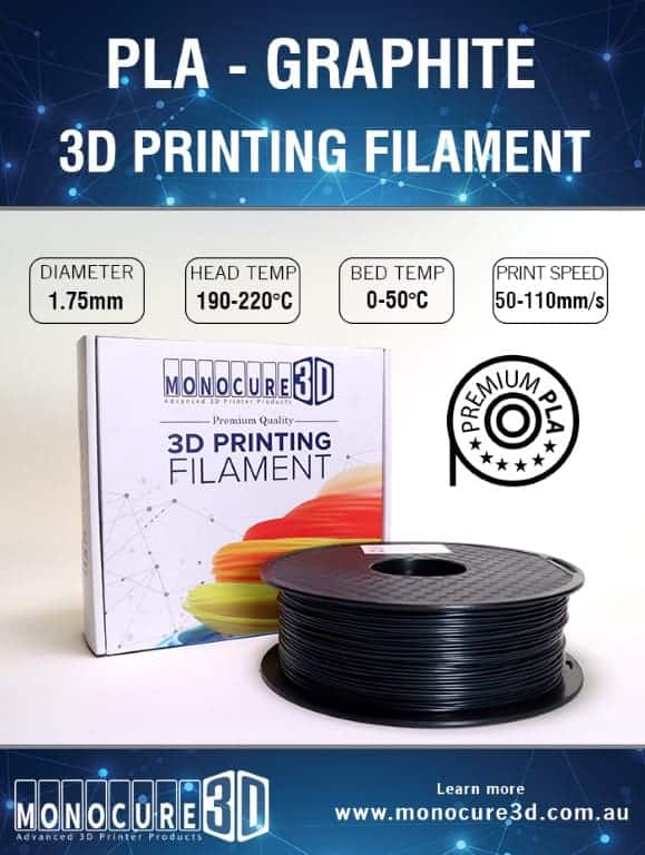 PLA Graphite normal 3d printer filament (1kg) | Lots Moore NSW