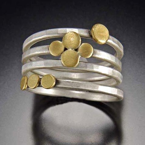 22K Gold Dots Stacking Ring Set