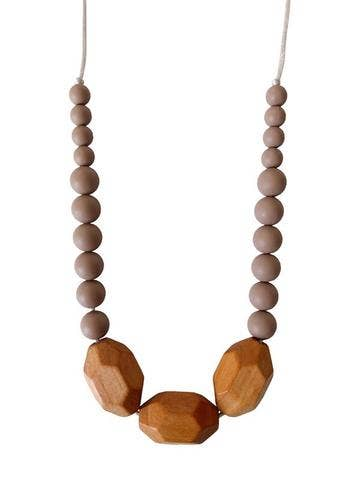 Austin Teething Necklace - Desert Taupe