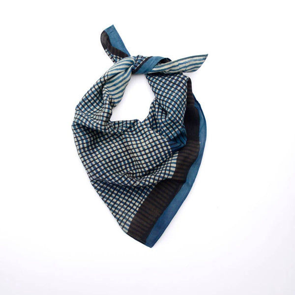 Chic Stripes Indigo Bandana (cotton/silk)