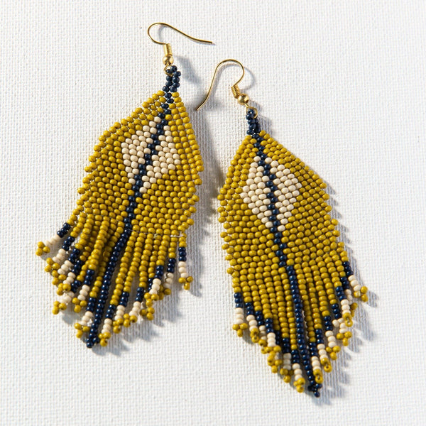 Citron + Ivory Diamond Beaded Earrings