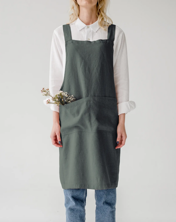 Linen Crossbody Apron in Forest Green