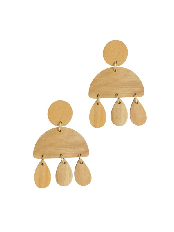 Droplets Wood Earrings