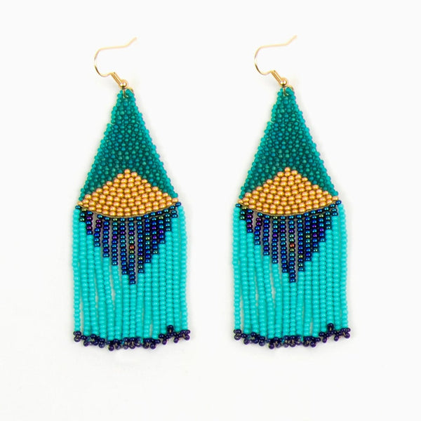 Turquoise Graphic Fringe Earrings