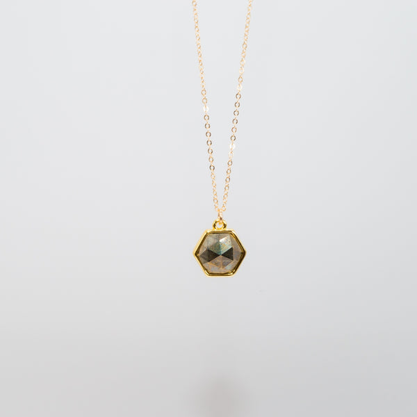 Hexagon Pyrite Necklace
