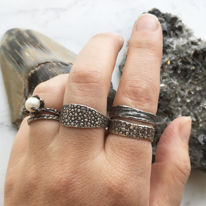 Lauren Wolf Silver Snakeskin Stacking Ring
