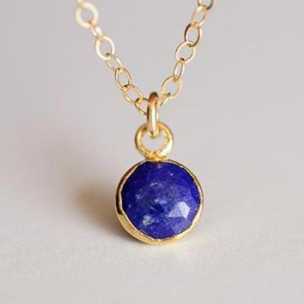 Tiny Lapis Gemlet Necklace