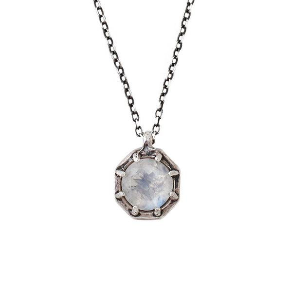 Lauren Wolf Large Silver Octagon Necklace w/ Rainbow Moonstone