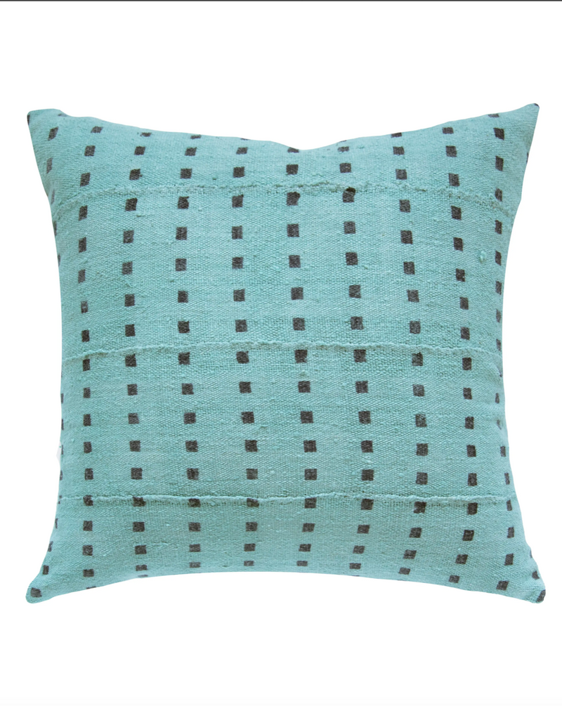 Micro Square Mud Cloth Pillow in Faded Lagoon