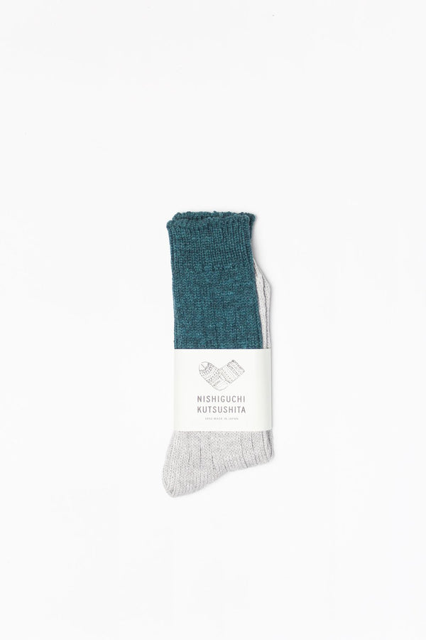 Wool & Cotton Slab Socks - Jungle Green