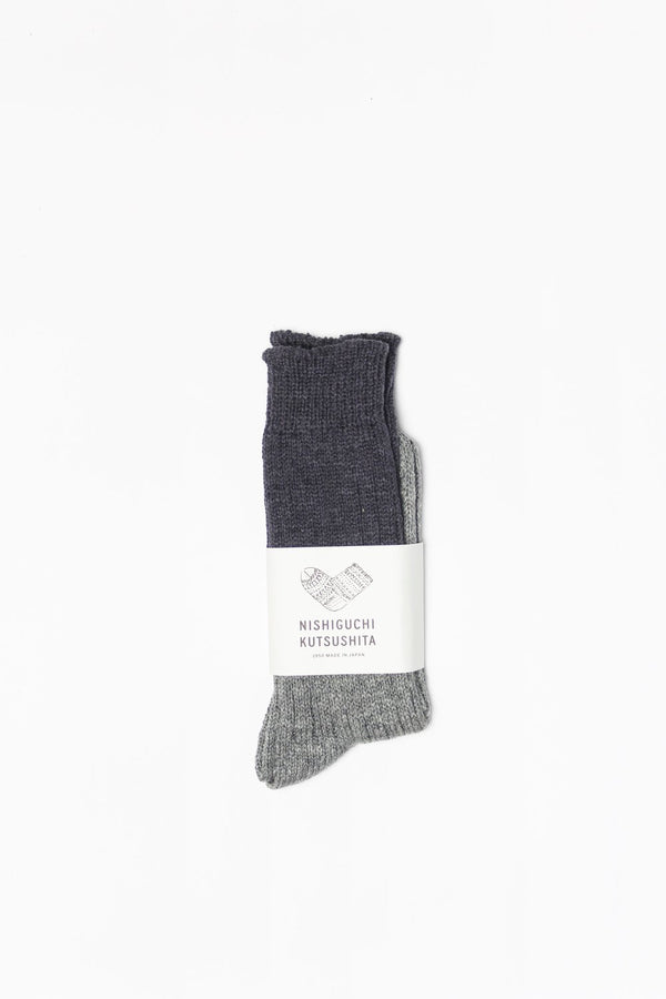 Wool & Cotton Slab Socks - Charcoal
