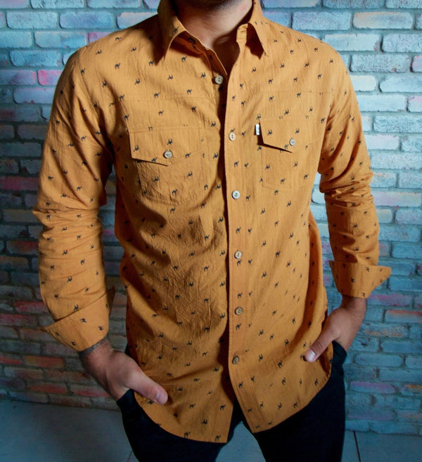 Long Sleeve Pushkar Camel Button Down - Gold