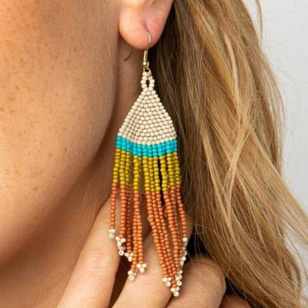 Rust, Ivory, Citron Beaded Fringe Earrings