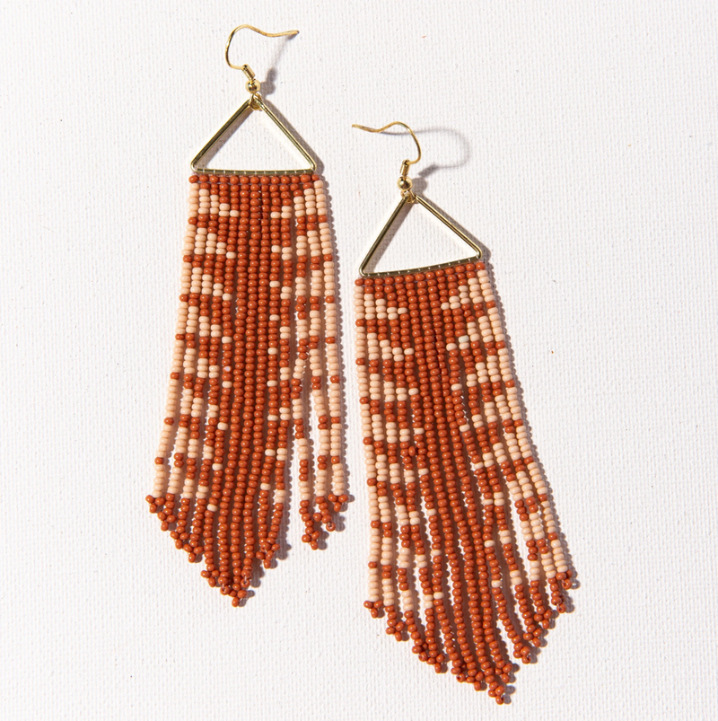 Rust and Pink Arrow Fringe Earrings