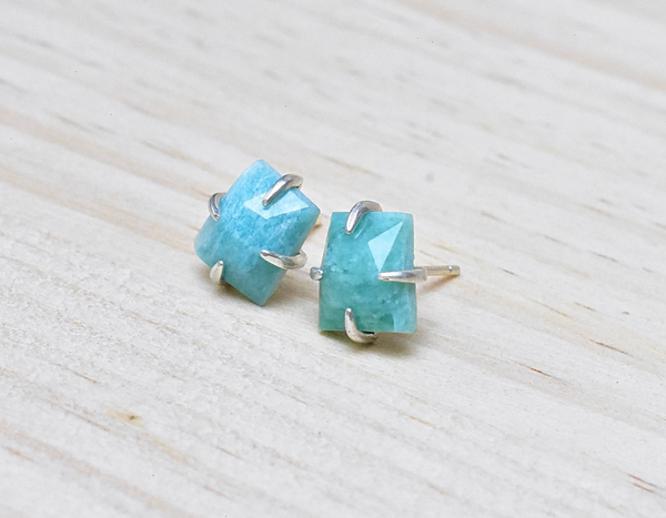 Silver Claw Prong Amazonite Trapezoid Studs