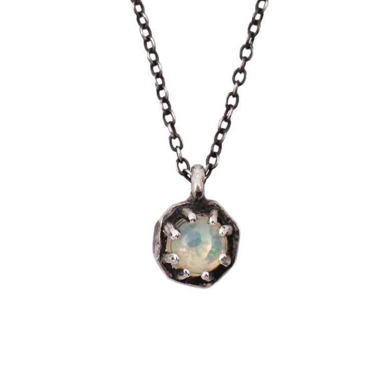 Lauren Wolf Small Silver Octagon Necklace w/Opal