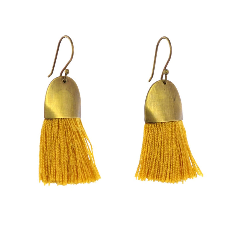 Brass + Tassel Earrings - Ochre