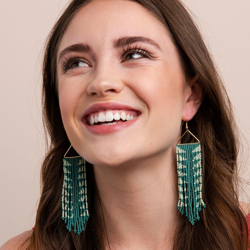 Teal and Mint Arrow Fringe Earrings