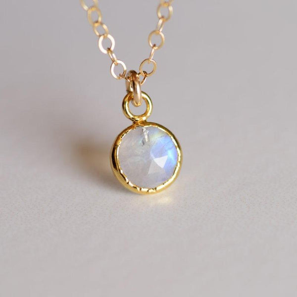 Tiny Rainbow Moonstone Gemlet Necklace