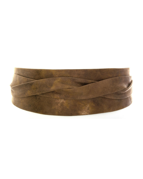 Ada Wide Metallic Leather Wrap Belt