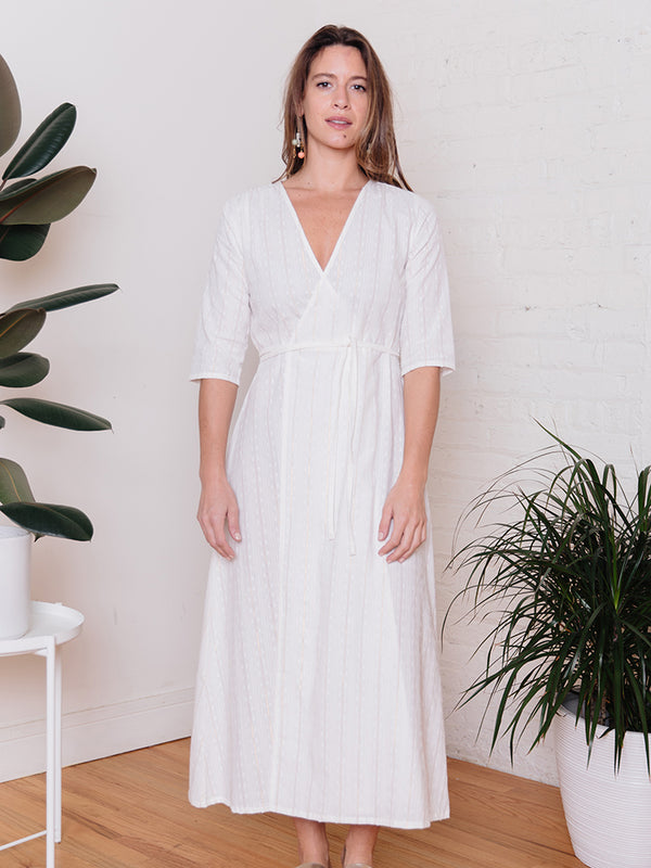 Aditi Wrap Dress - White Lurex