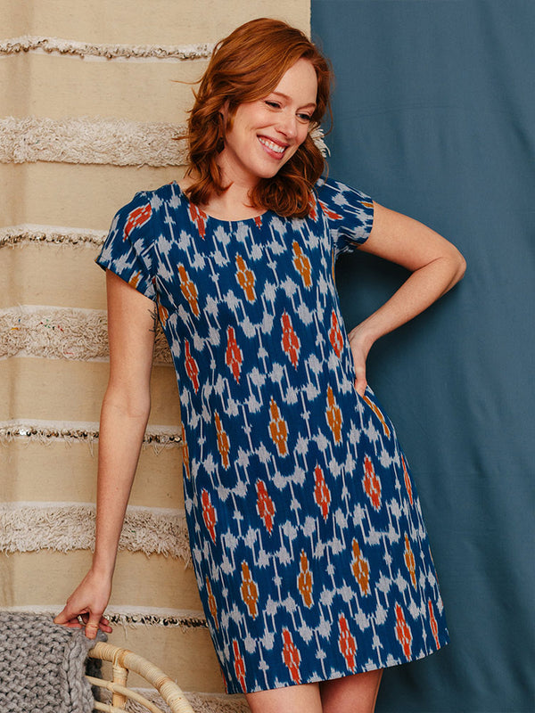 Farida Shift Dress - Blue Ikat