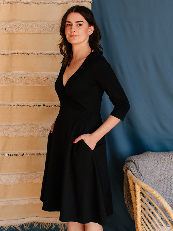 Callie Organic Cotton Wrap Dress - Black