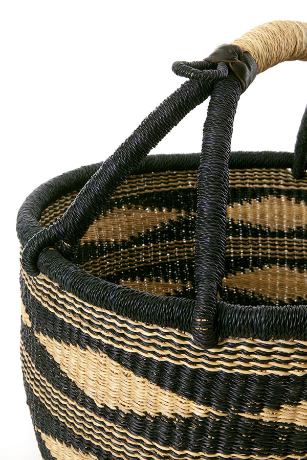 Midnight Diamond Handwoven Decorative Bolga Basket