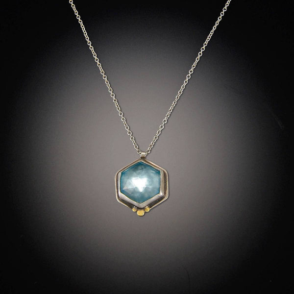 Blue Topaz Hexagon Necklace