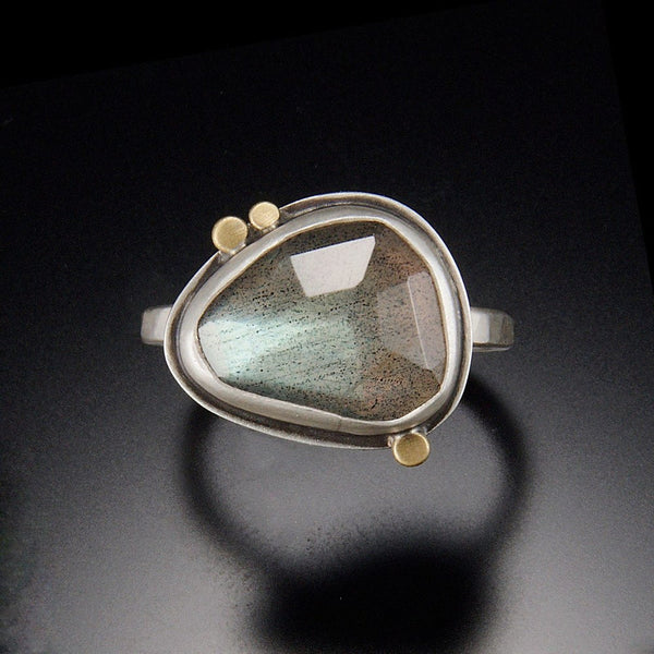 Labradorite Ring with Three Gold Dots