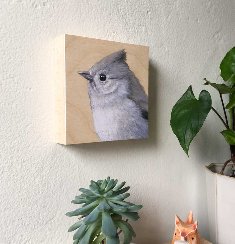 Oak Titmouse Bird Print on Wood by Maggie Hurley
