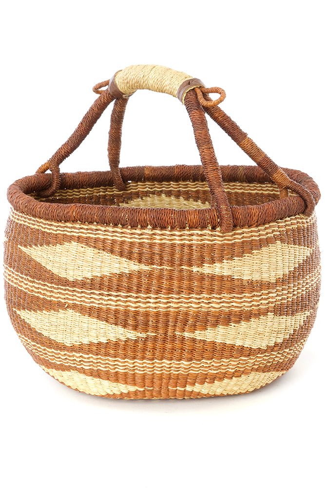 Caramel Diamond Handwoven Decorative Bolga Basket