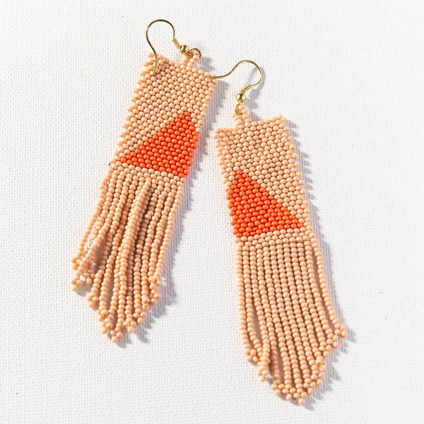 Modern Triangle Beaded Fringe Earrings - Pink + Orange
