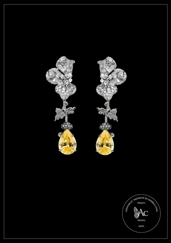 <center>Bespoke Canary Orchid Earrings</center>