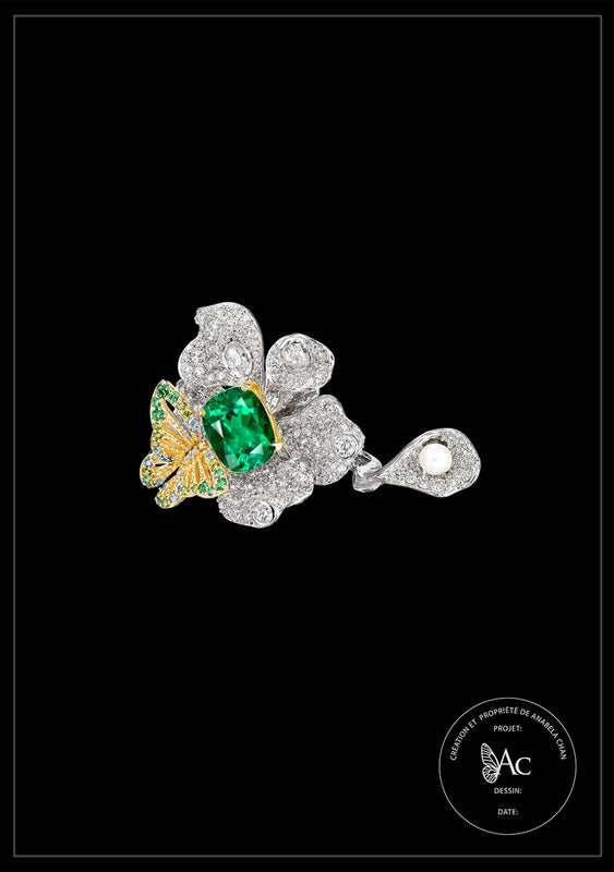 <center>Bespoke Emerald Peony Butterfly Ring</center>