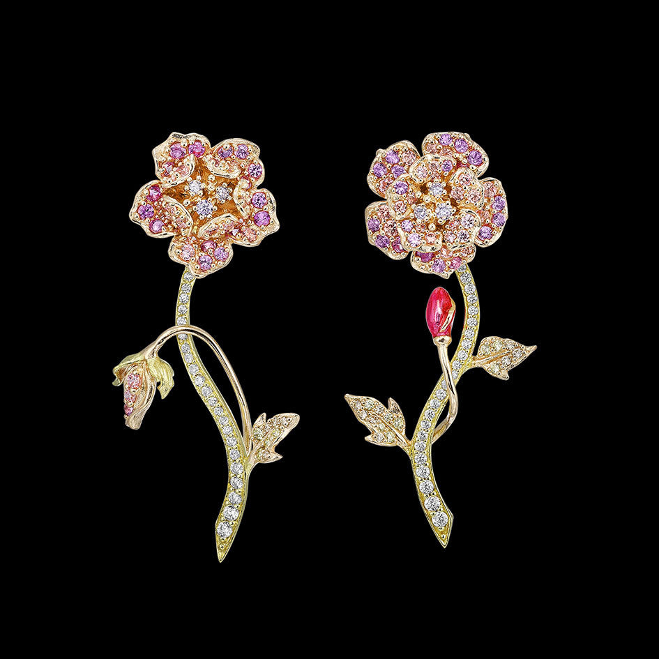 Pink Geranium Earrings
