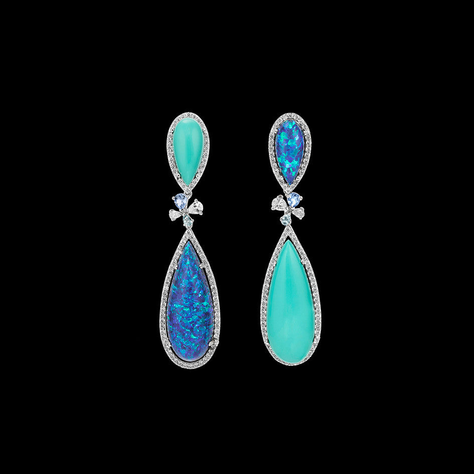 Mini Turquoise and Opal Papillon Earrings