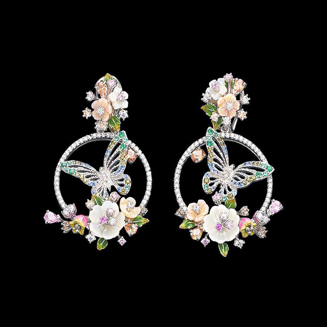 Diamond Butterfly Wreath Earrings