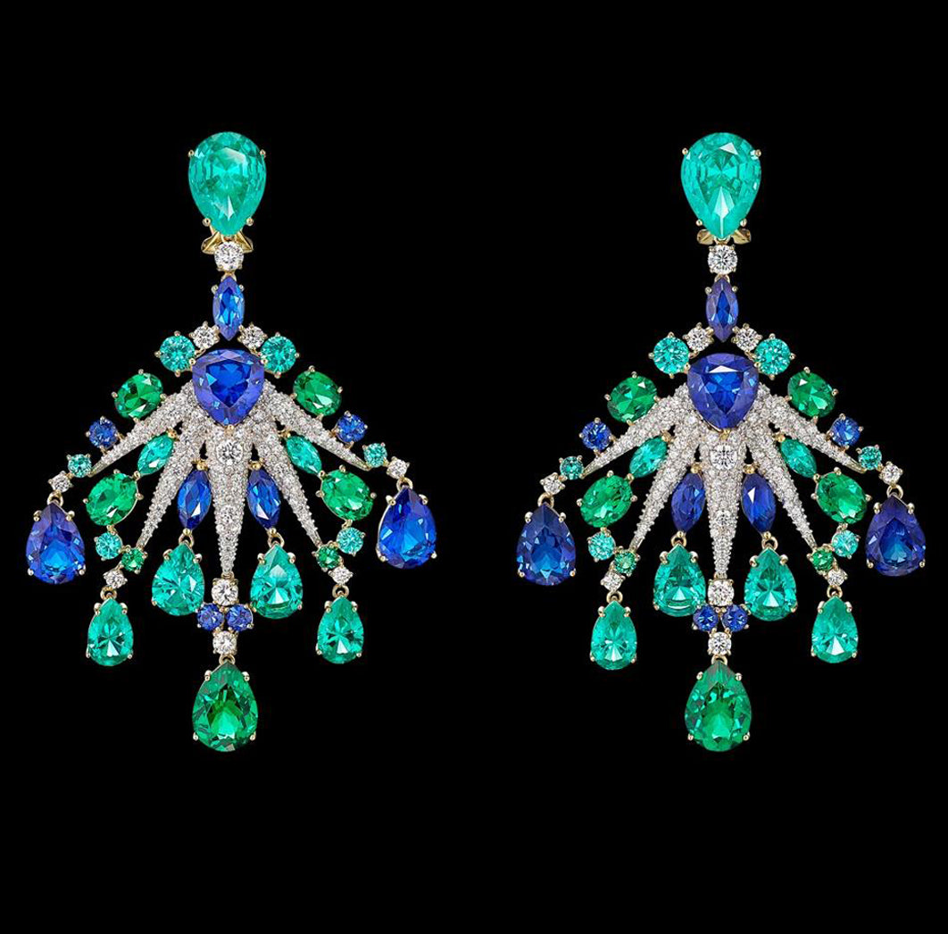 Emerald Sapphire Starburst Earrings