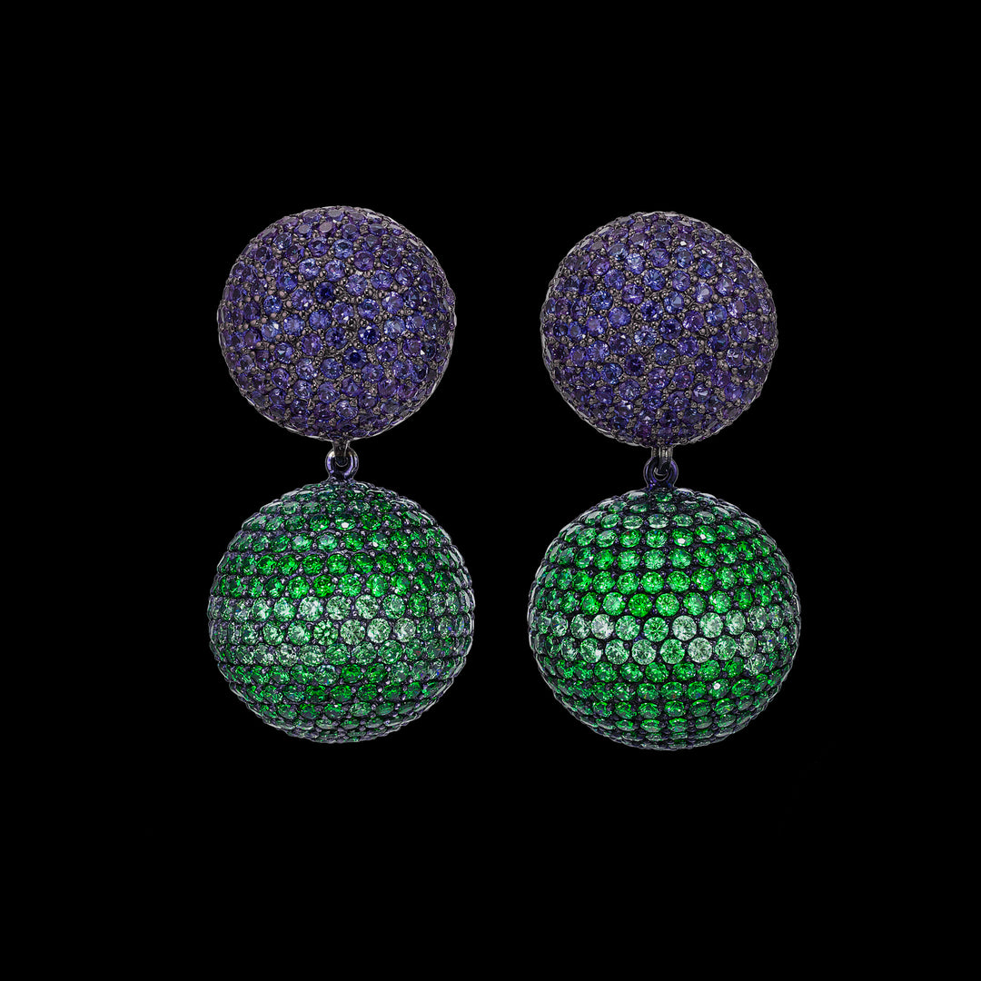 Emerald Sapphire Bauble Earrings