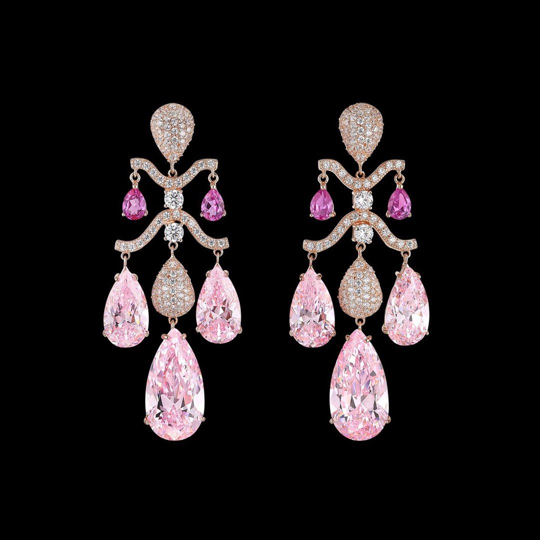 Pink Sapphire Chandelier Earrings