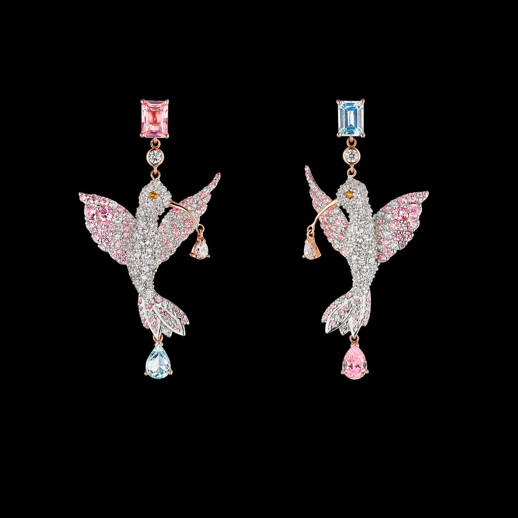Diamond Hummingbird Earrings