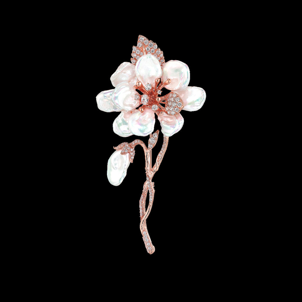 Rose Cherry Corsage Brooch