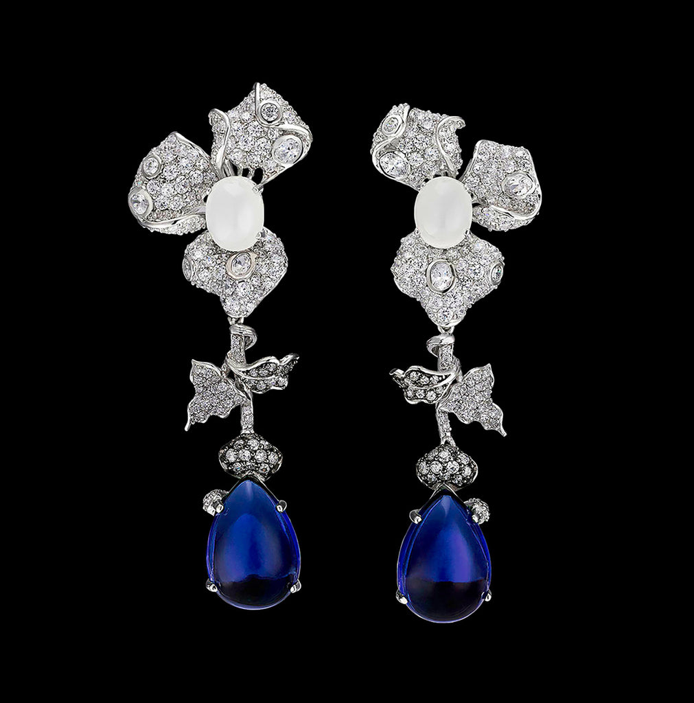 Sapphire Moonstone Orchid Earrings