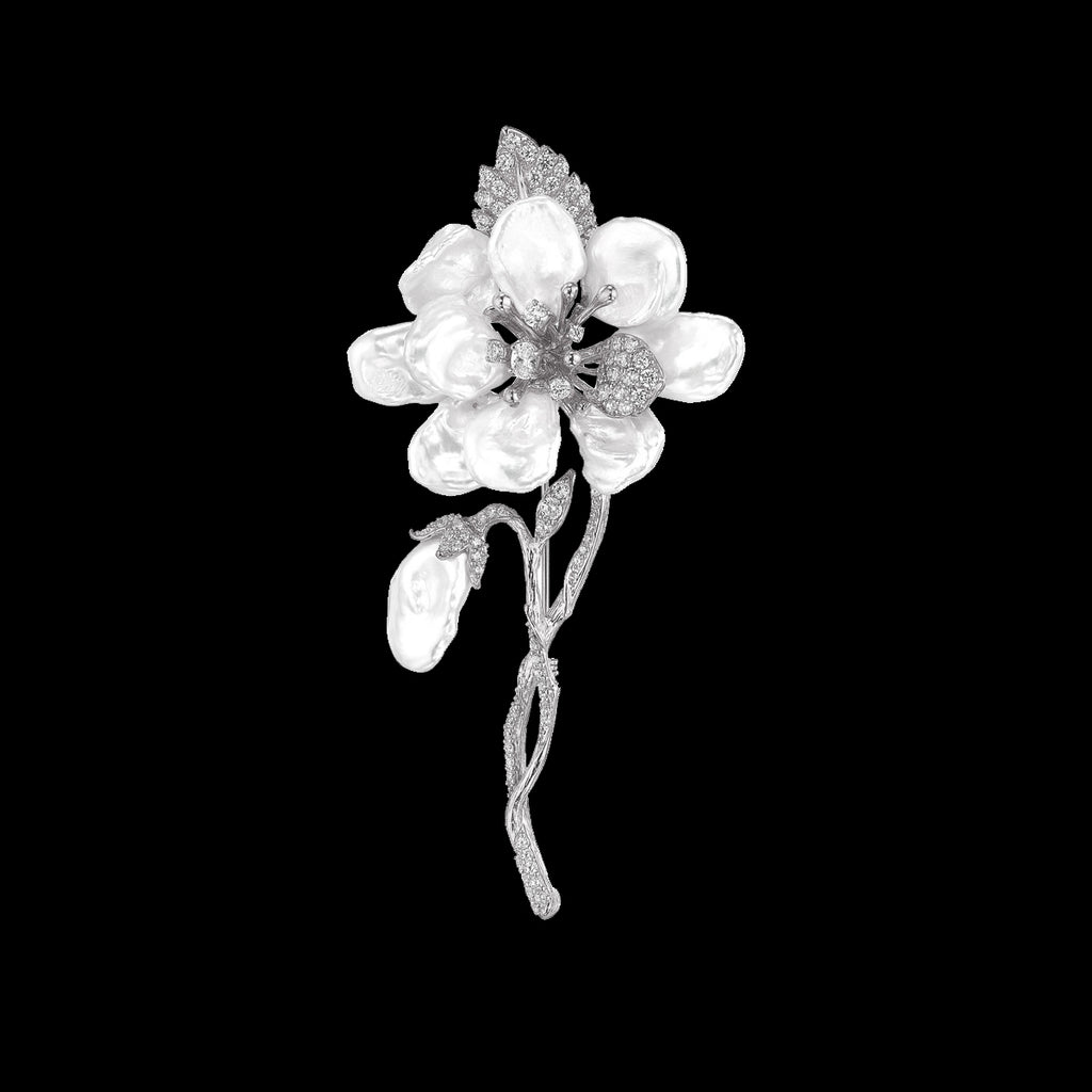 White Cherry Corsage Brooch