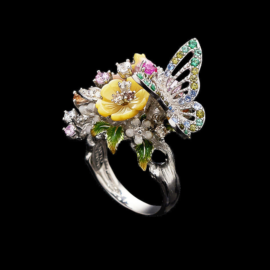White Butterfly Bouquet Ring