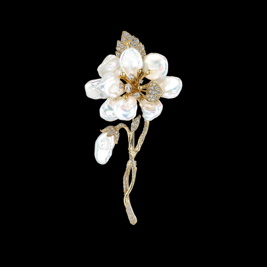 Gold Cherry Corsage Brooch